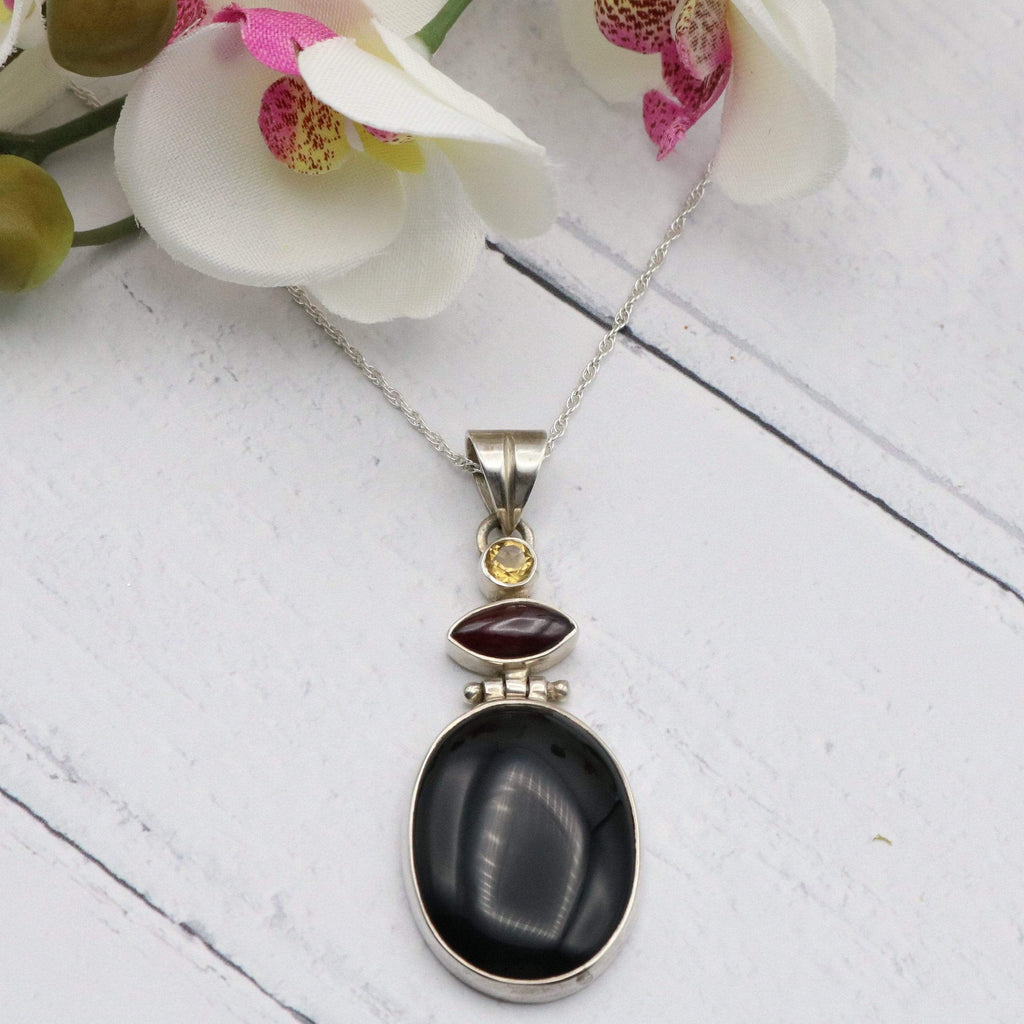 Hepburn and Hughes Black Onyx Pendant, with Citrine and Amethyst in Sterling Silver
