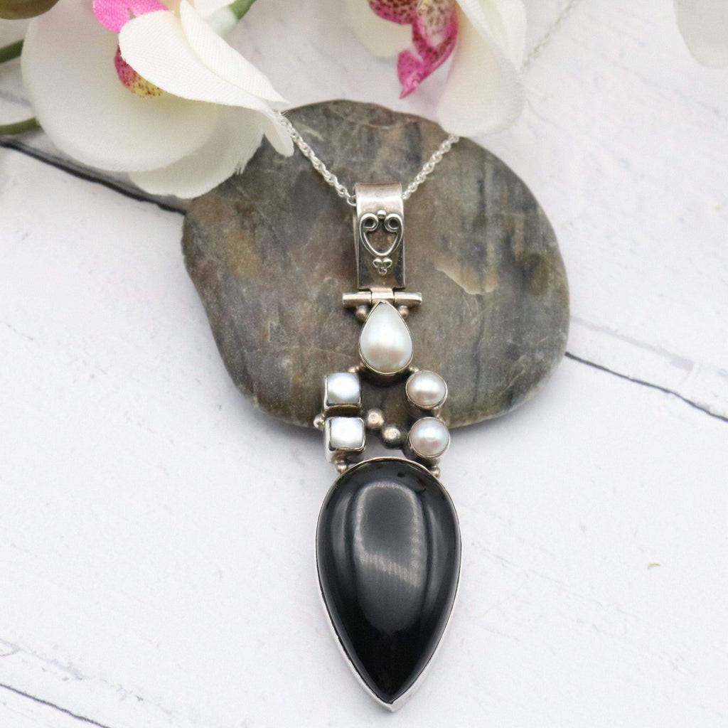 Hepburn & Hughes Black Onyx Pendant, with Freshwater Pearls in Sterling Silver