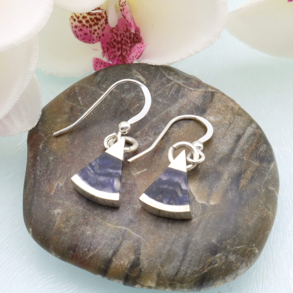 Hepburn and Hughes Blue John Earrings | Triangle | Sterling Silver