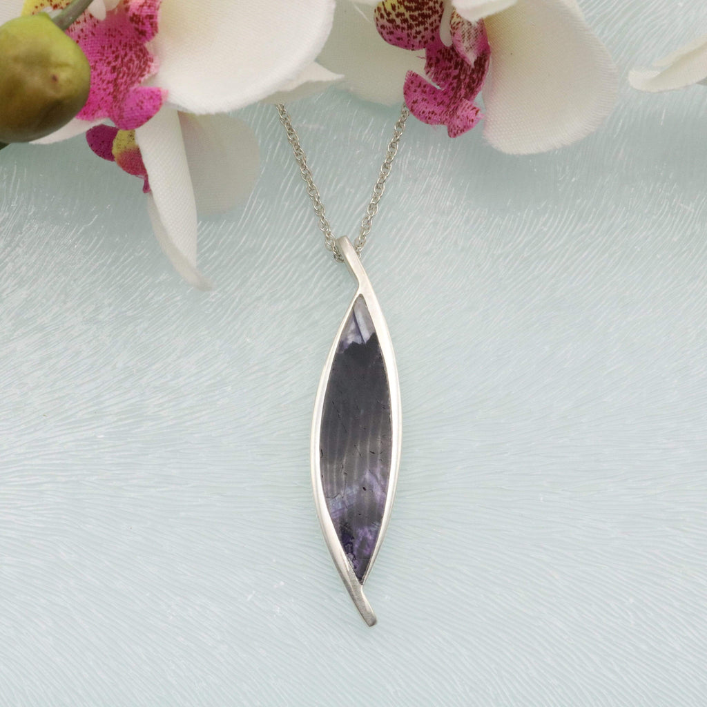 Hepburn and Hughes Blue John Pendant | Pointed Oval | Sterling Silver