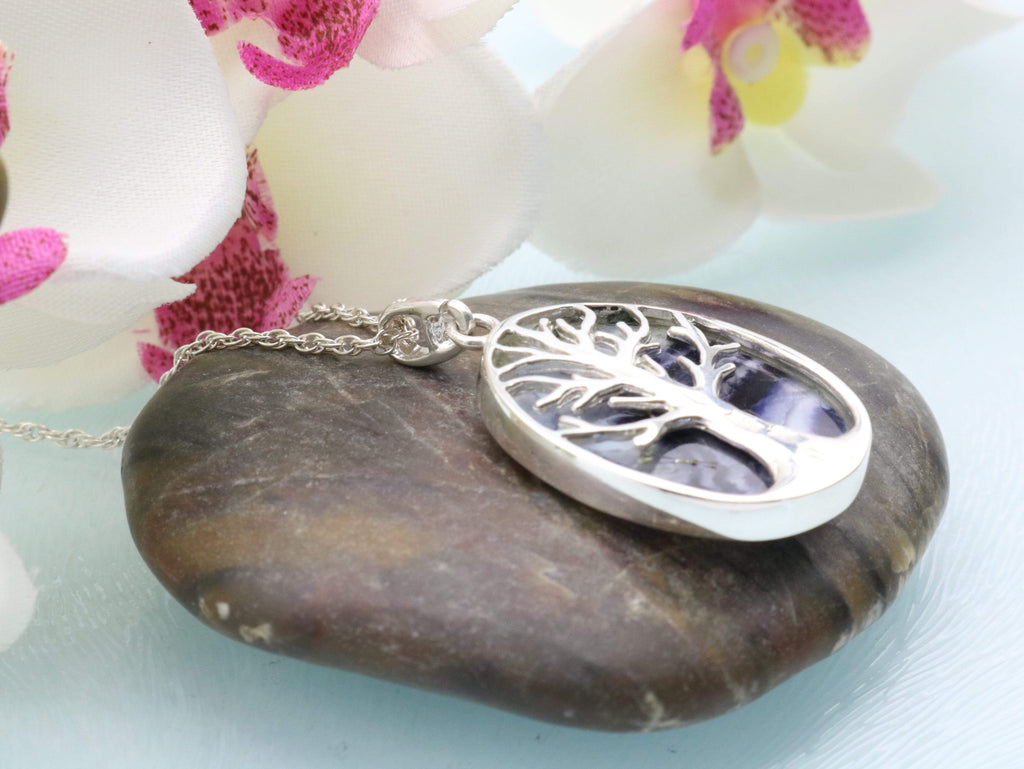 Hepburn and Hughes Blue John Pendant | Tree of Life | Oval | Sterling Silver