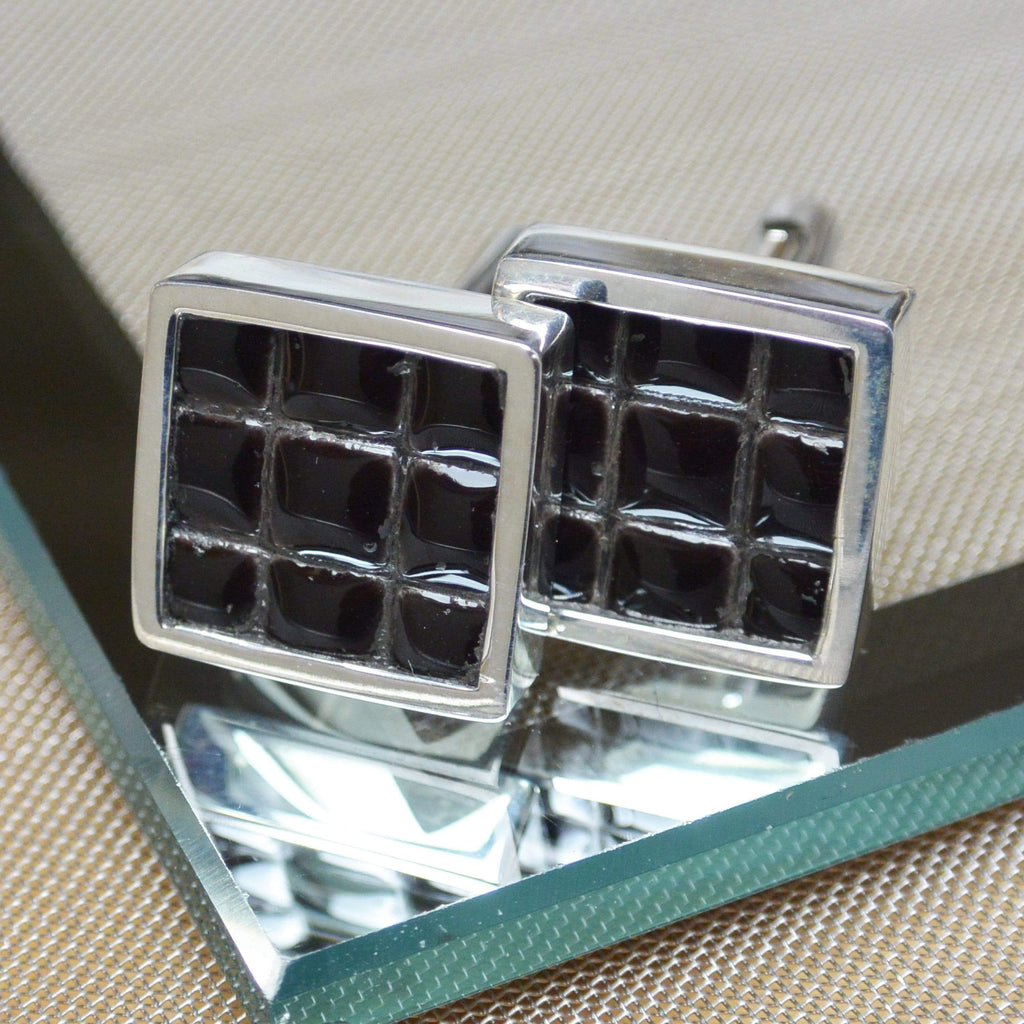 Hepburn and Hughes Ceramic Micro Tile Cufflinks in Sterling Silver