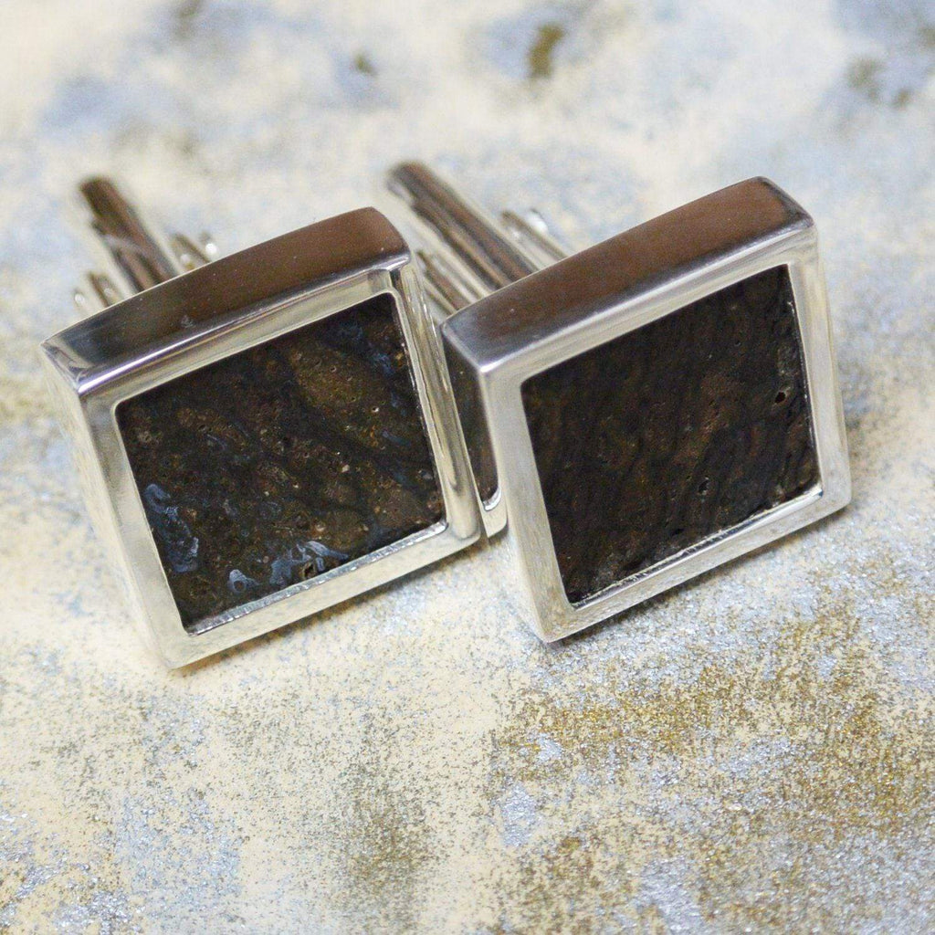 Hepburn and Hughes Dinosaur Bone, Iguanodon Cufflinks in Sterling Silver