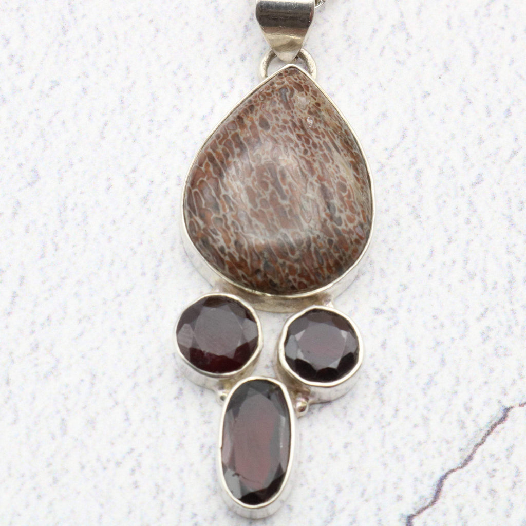 Hepburn and Hughes Dinosaur Bone Pendant, Amethyst and Garnet in Sterling Silver
