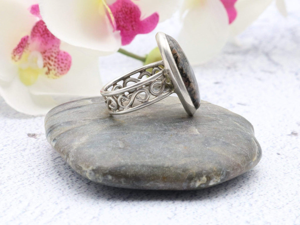 Hepburn and Hughes Dinosaur Bone Ring, Oval in Sterling Silver