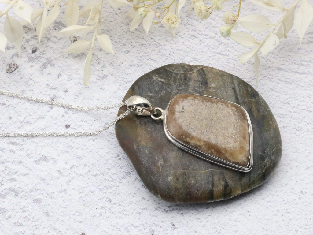 Hepburn and Hughes Dinosaur Eggshell Pendant, Abstract in Sterling Silver