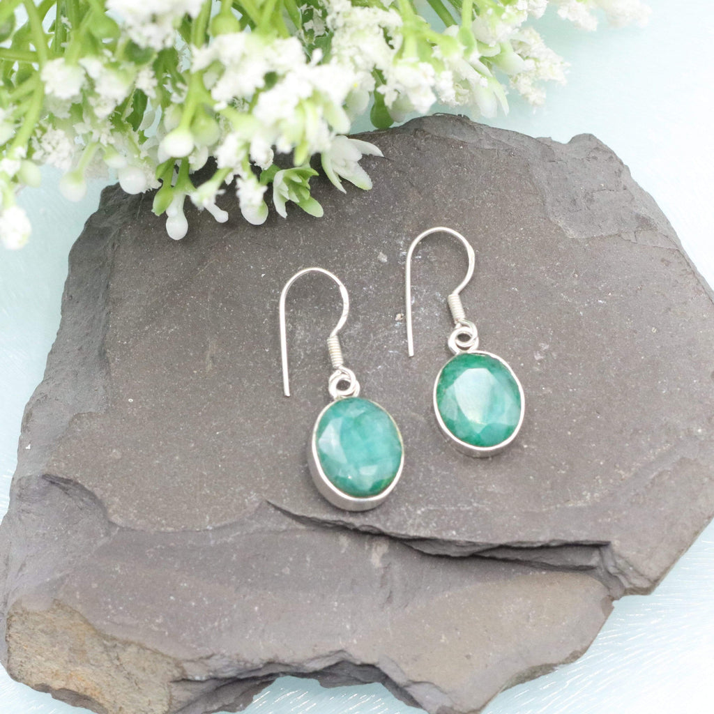 Hepburn and Hughes Emerald Earrings | Oval | Sterling Silver