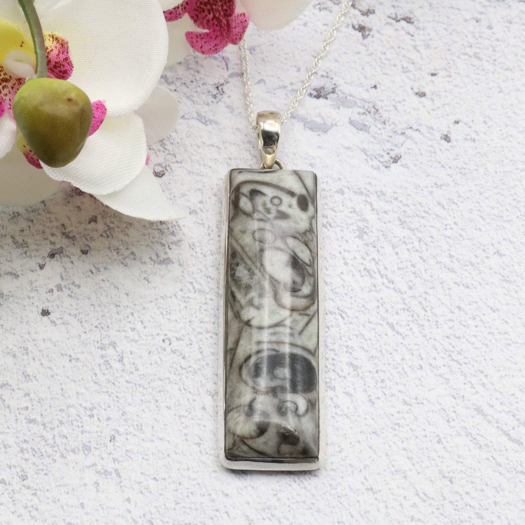 Hepburn and Hughes Fossilised Sea Creatures Pendant, Long Rectangle in Sterling Silver