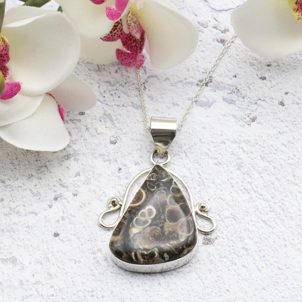 Hepburn and Hughes Fossilised Turritella Shell Pendant, Curved Triangle in Sterling Silver