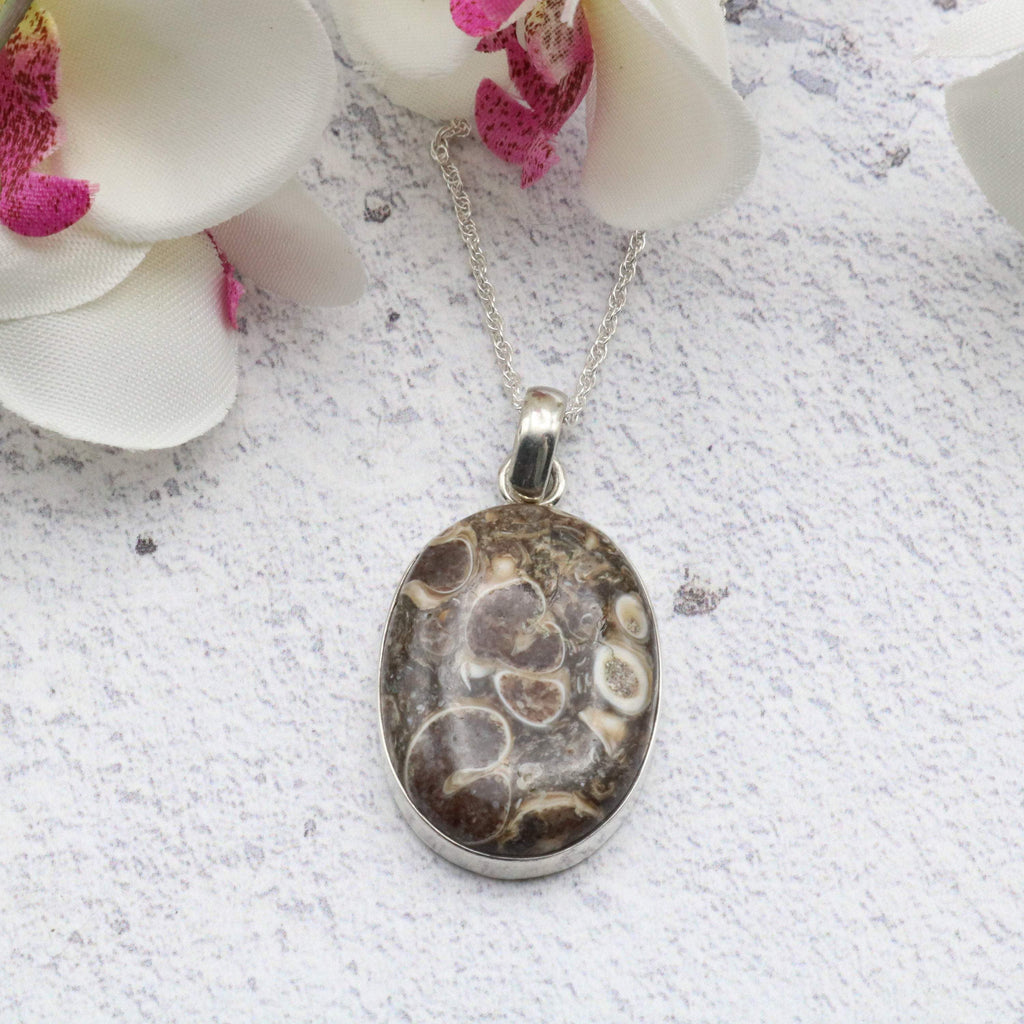 Hepburn and Hughes Fossilised Turritella Shell Pendant, Oval in Sterling Silver