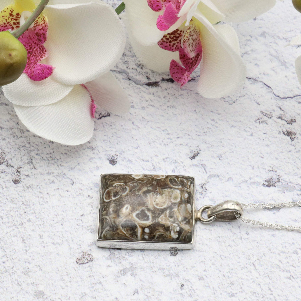 Hepburn and Hughes Fossilised Turritella Shell Pendant, Rectangle in Sterling Silver