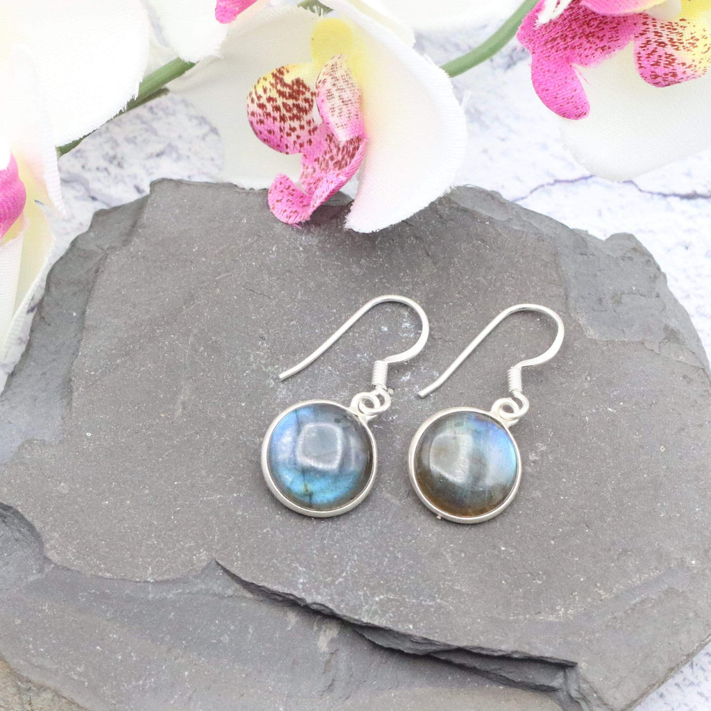 Hepburn and Hughes Labradorite Earrings | Circle | Sterling Silver