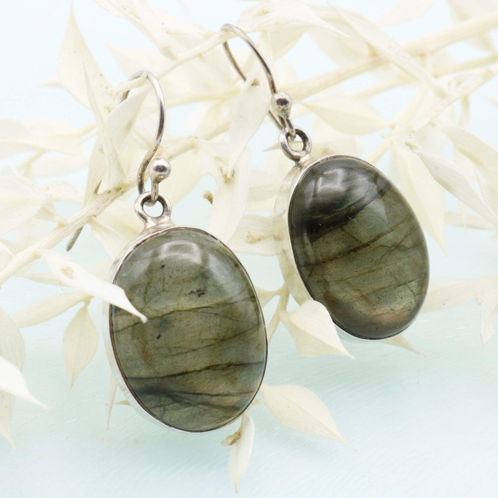 Hepburn and Hughes Labradorite Earrings, Oval in Sterling Silver