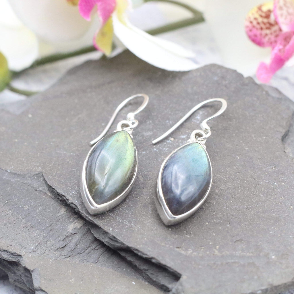 Hepburn and Hughes Labradorite Earrings | Pointed Oval | Sterling Silver