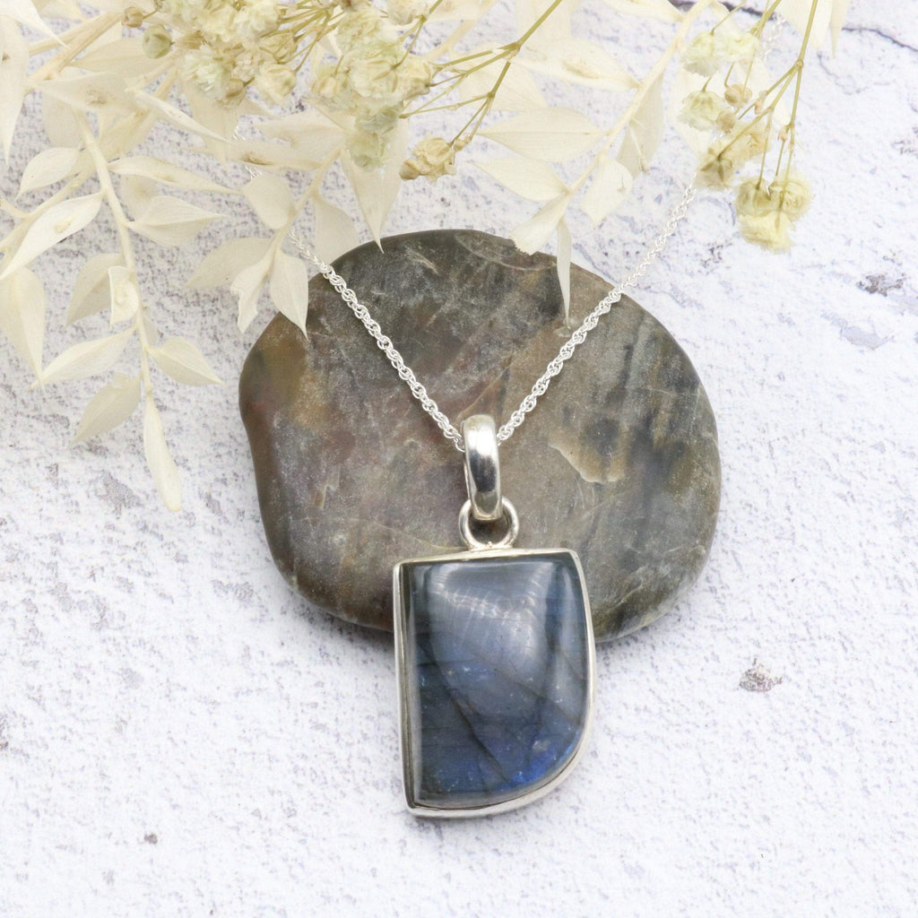 Hepburn and Hughes Labradorite Pendant, Abstract in Sterling Silver