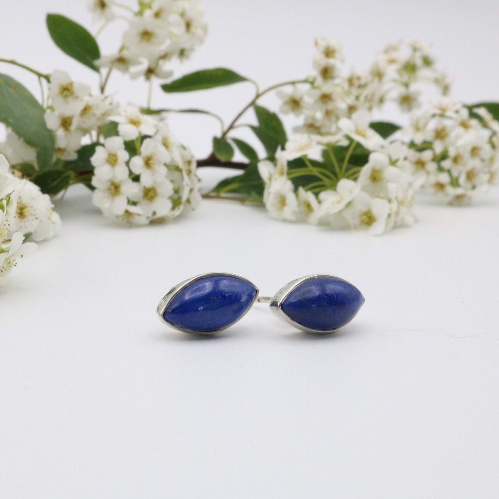 Hepburn and Hughes Lapis Lazuli Earrings, Pointed Oval in Sterling Silver