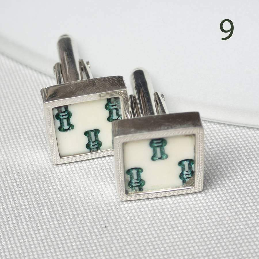 Hepburn and Hughes Mahjong Cufflinks in Sterling Silver