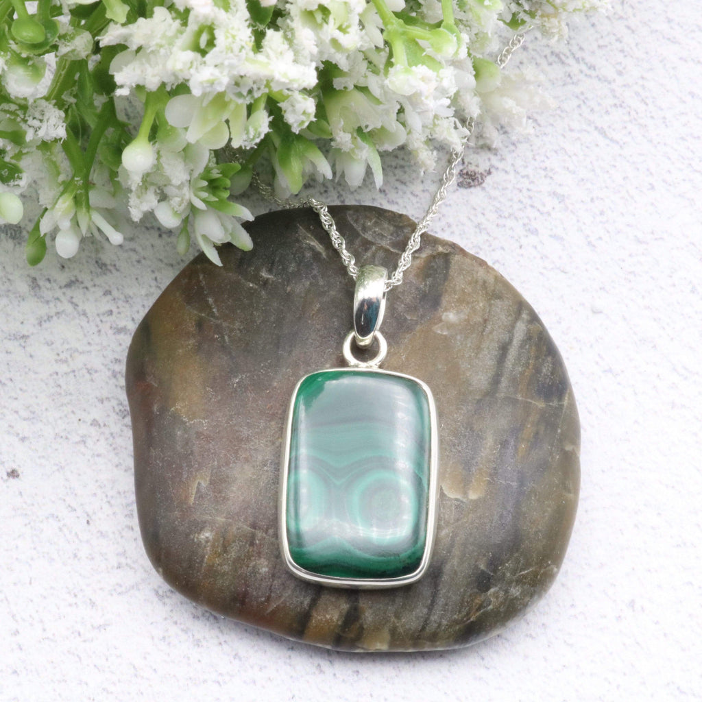Hepburn and Hughes Malachite Pendant | Rectangle | Sterling Silver