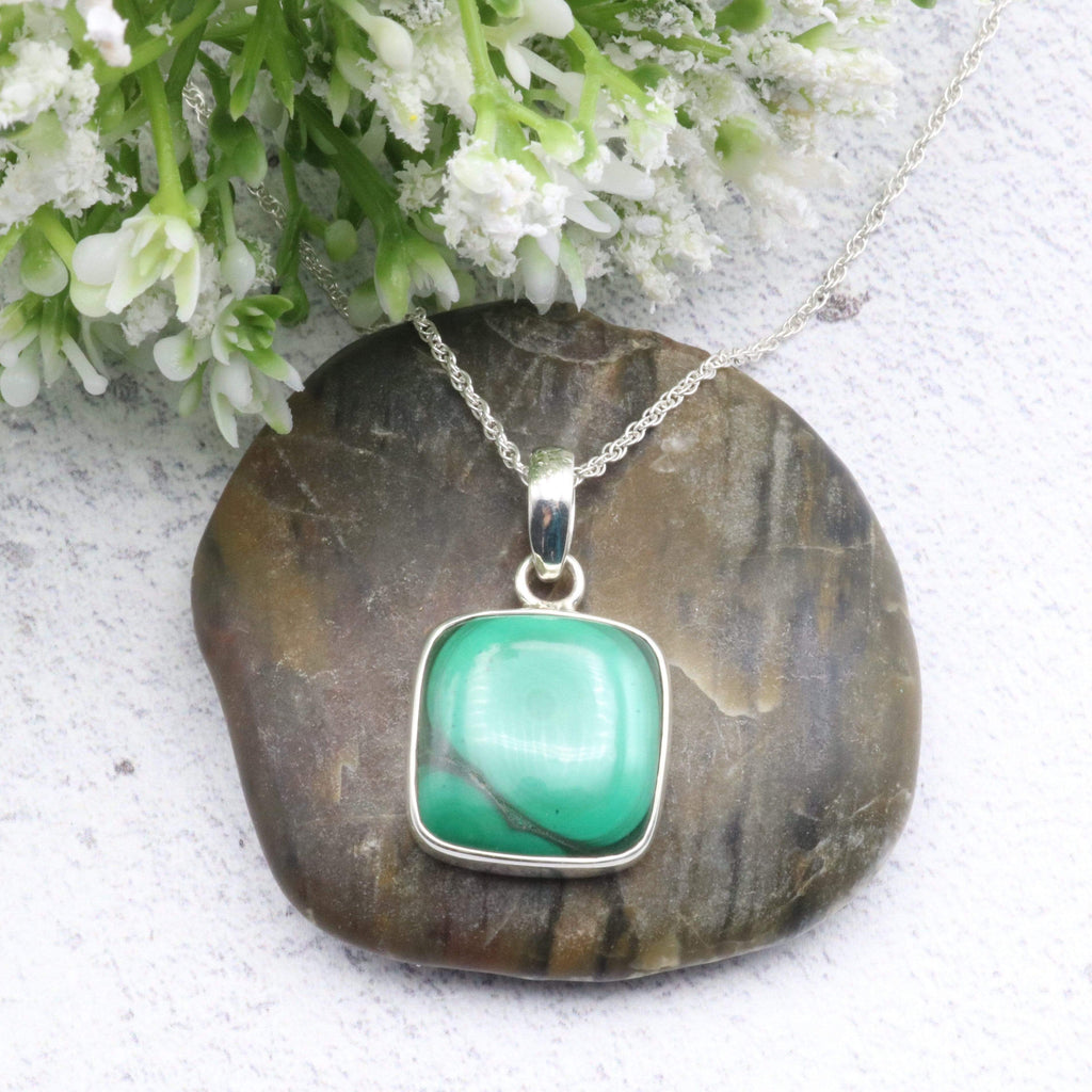 Hepburn and Hughes Malachite Pendant | Square | Sterling Silver