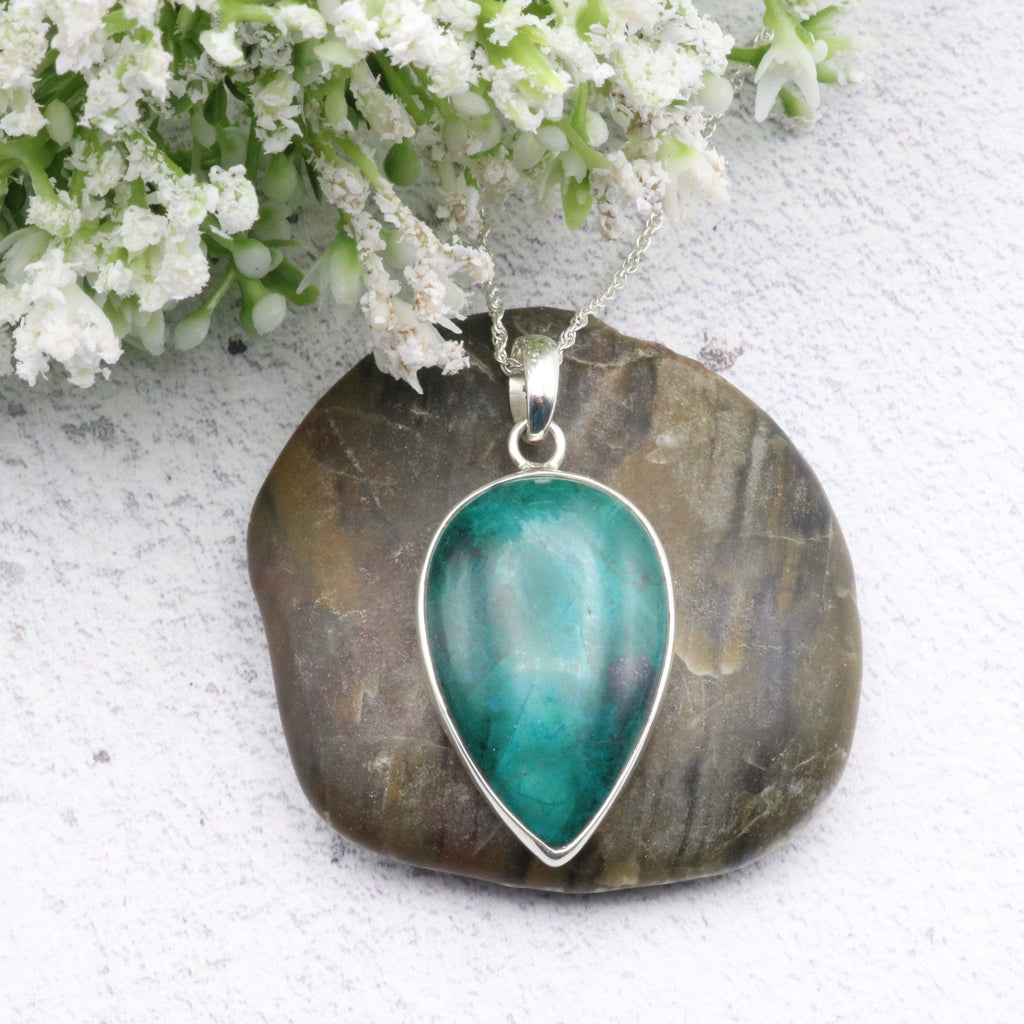 Hepburn and Hughes Malachite Pendant | Teardrop | Sterling Silver