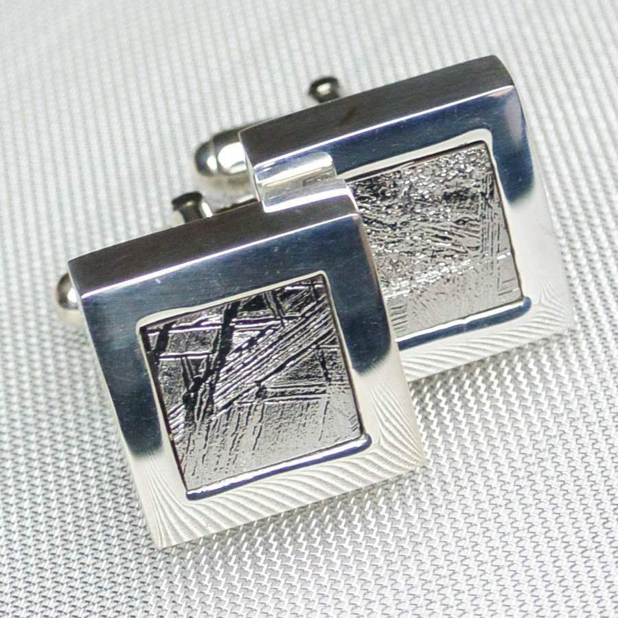 Hepburn and Hughes Meteorite Cufflinks in Sterling Silver