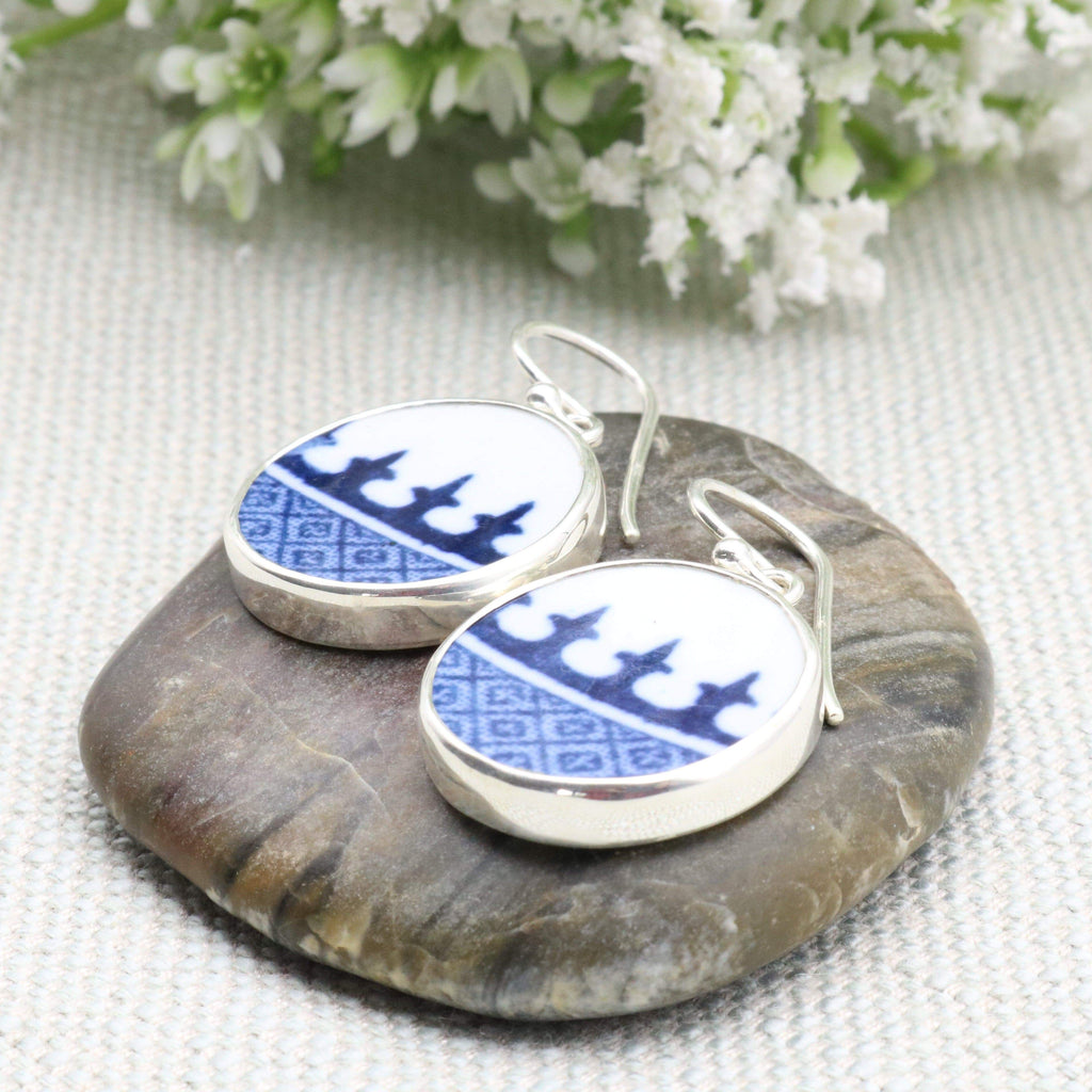 Hepburn and Hughes Minton Pottery Circular Earrings in Sterling Silver
