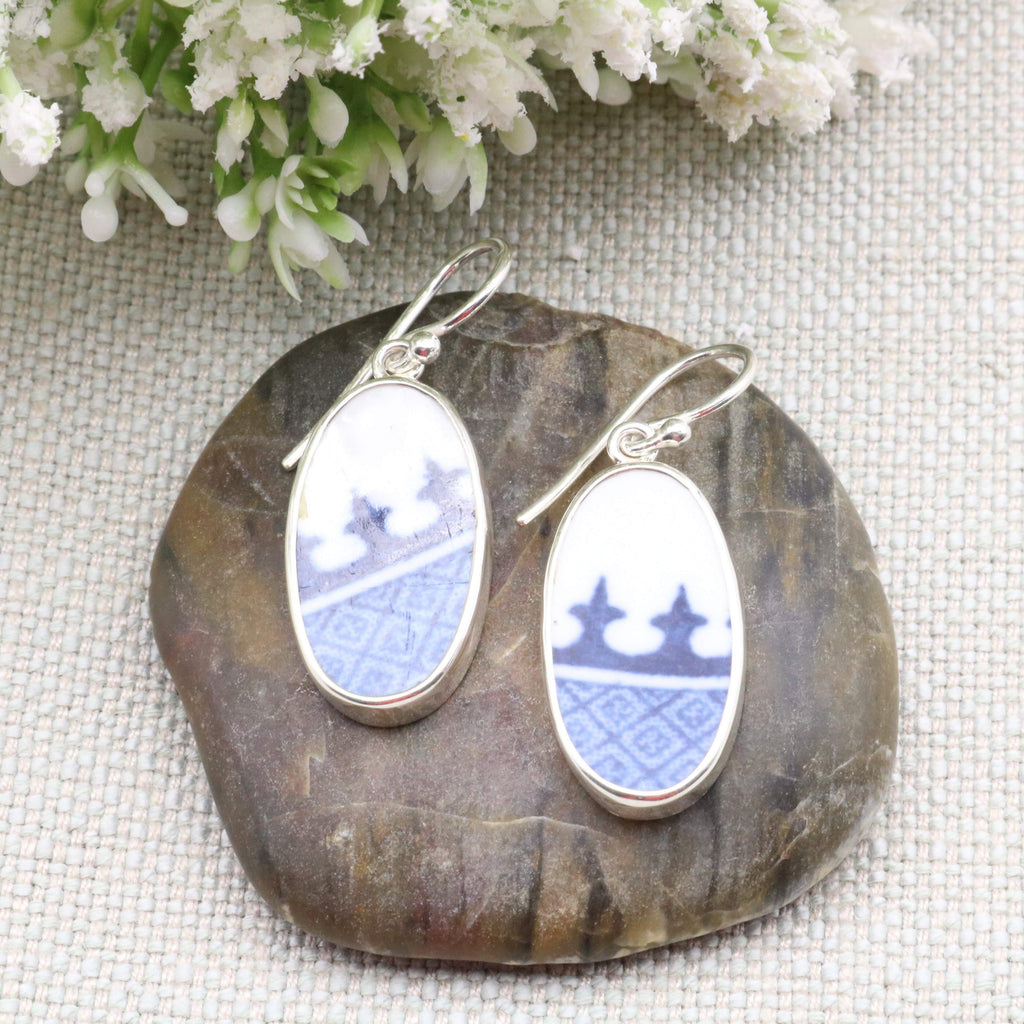 Hepburn and Hughes Minton Pottery Oval Earrings in Sterling Silver