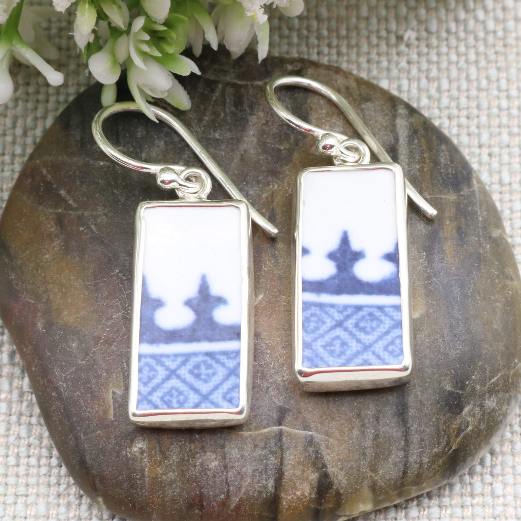 Hepburn and Hughes Minton Pottery Rectangular Earrings in Sterling Silver