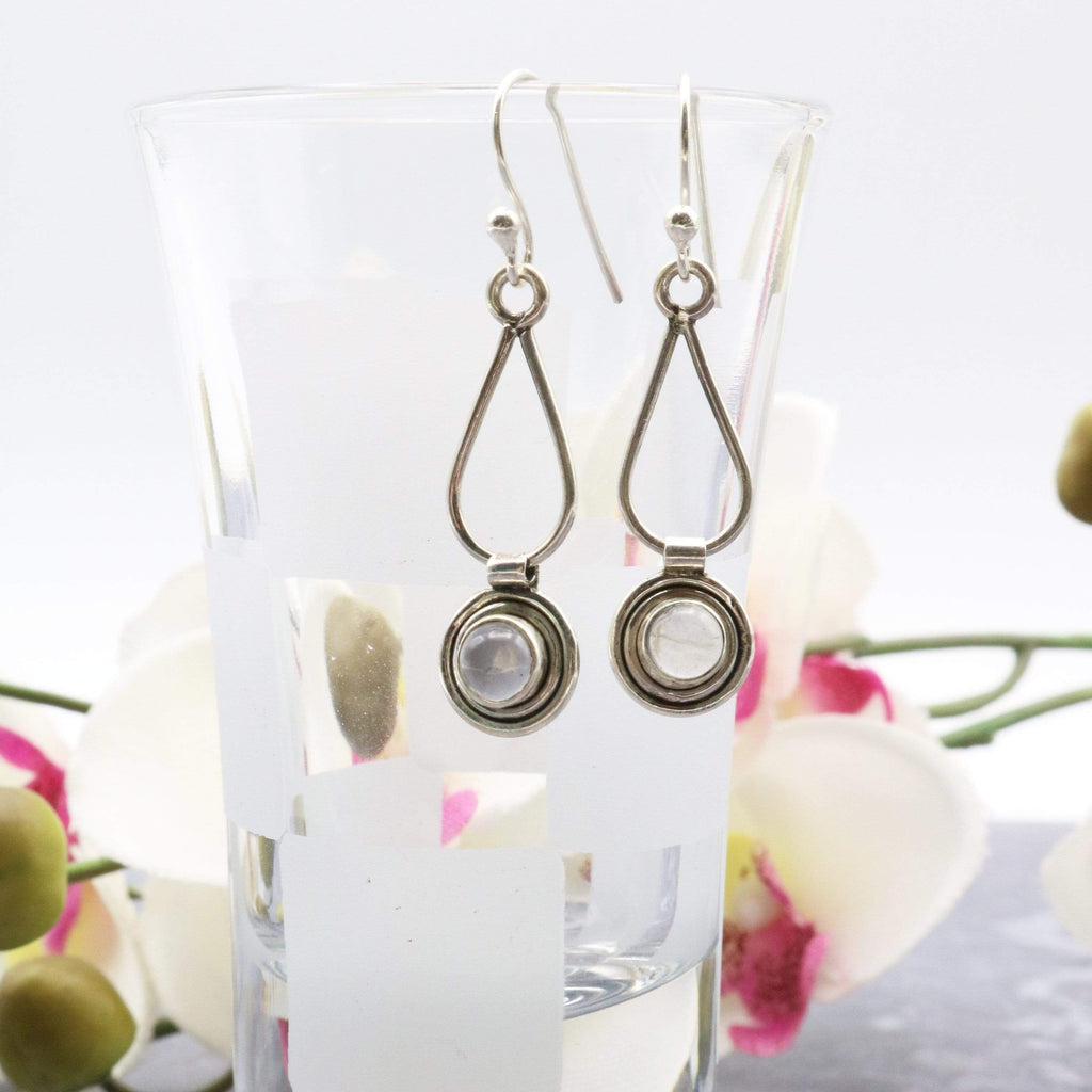 Hepburn and Hughes Moonstone Earrings, Small Circle with Ear Wire in Sterling Silver