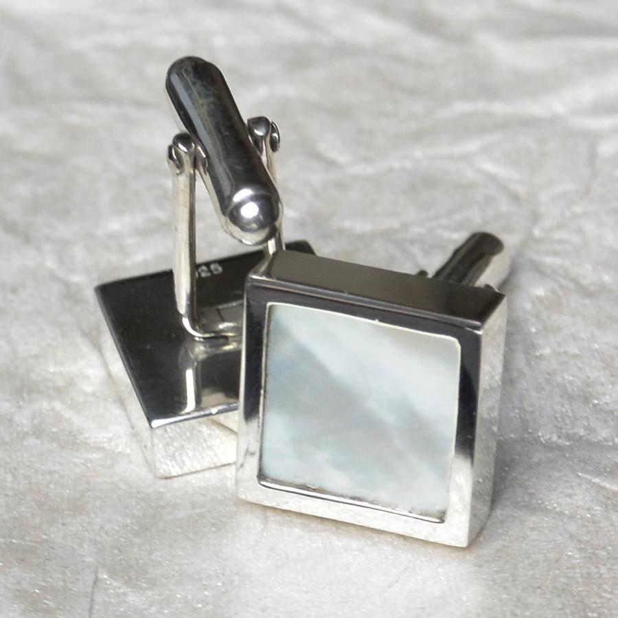 Hepburn and Hughes Mother of Pearl Cufflinks in Sterling Silver
