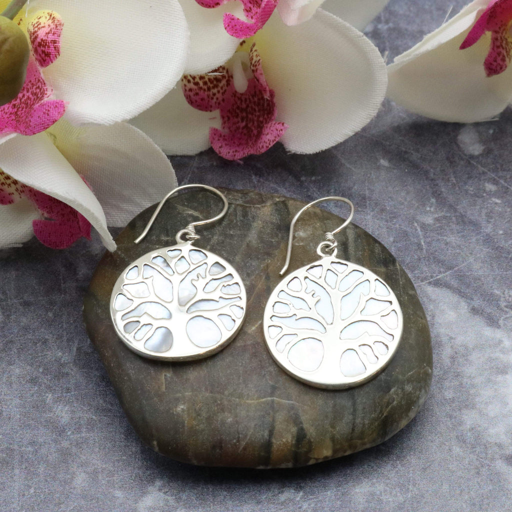Hepburn and Hughes Mother of Pearl Earrings, with Tree of Life in Sterling Silver