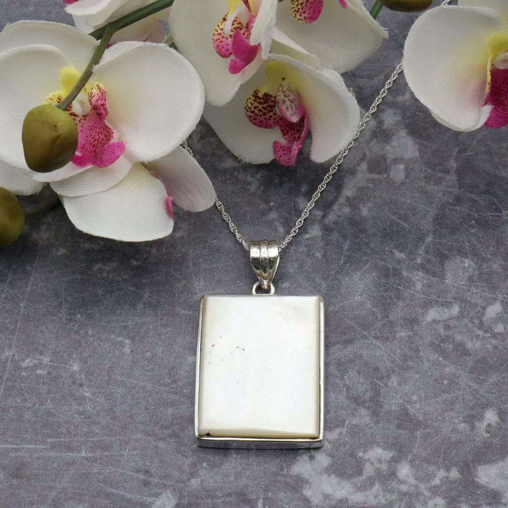 Hepburn and Hughes Mother of Pearl Pendant, Large Rectangle in Sterling Silver
