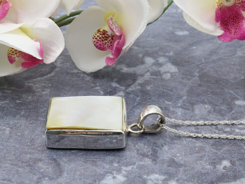 Hepburn and Hughes Mother of Pearl Pendant, Rectangle in Sterling Silver