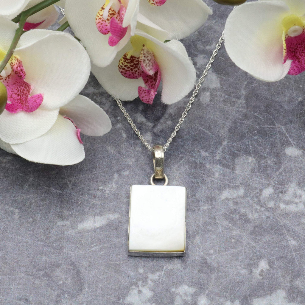 Hepburn and Hughes Mother of Pearl Pendant, Small Rectangle in Sterling Silver