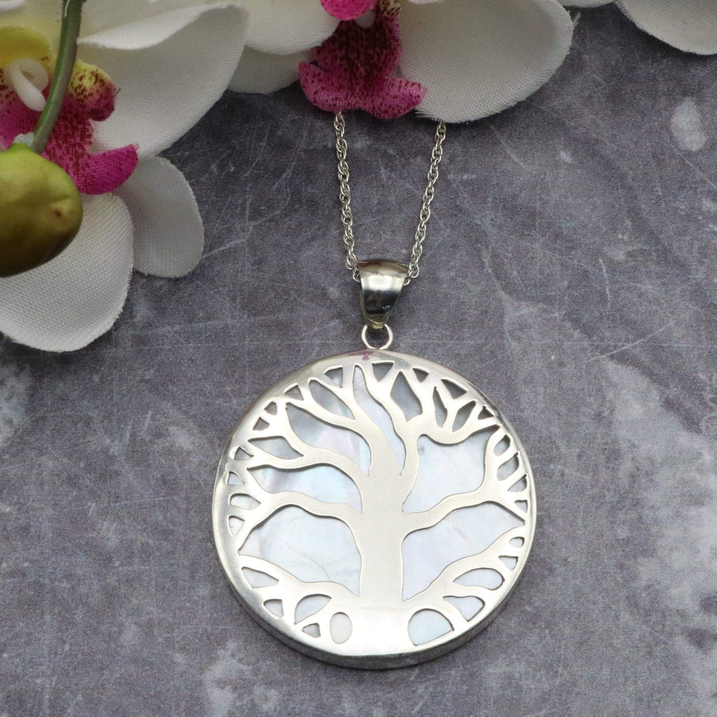 Hepburn and Hughes Mother of Pearl Pendant, with Tree of Life in Sterling Silver