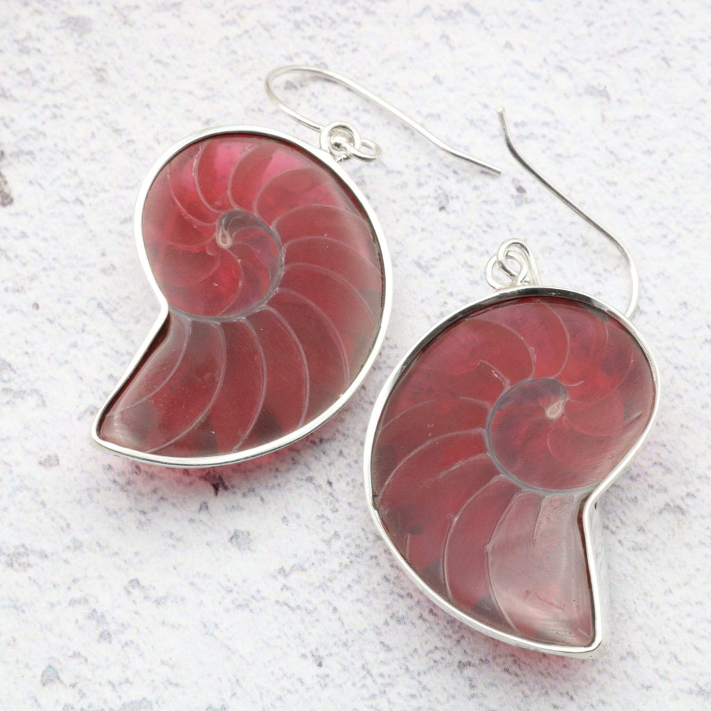 Hepburn and Hughes Nautilus shell Earrings, Red in Sterling Silver