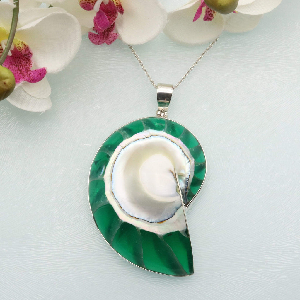 Hepburn and Hughes Nautilus Shell Pendant, Green in Sterling Silver