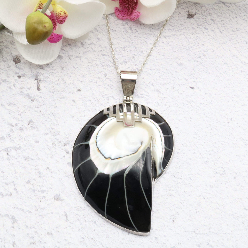 Hepburn and Hughes Nautilus Shell Pendant, large black Art Deco in Sterling Silver