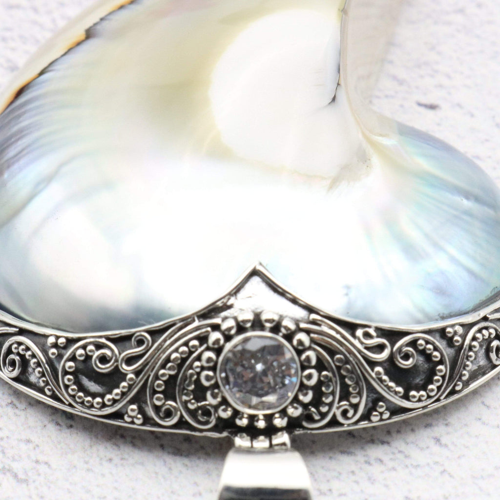 Hepburn and Hughes Nautilus Shell Pendant, large pearl with jewel in Sterling Silver