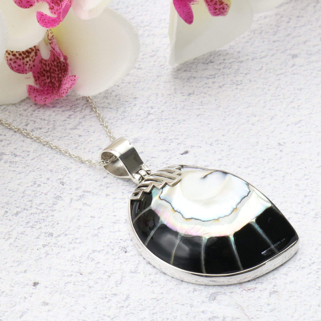 Hepburn and Hughes Nautilus Shell Pendant, small black Art Deco in Sterling Silver