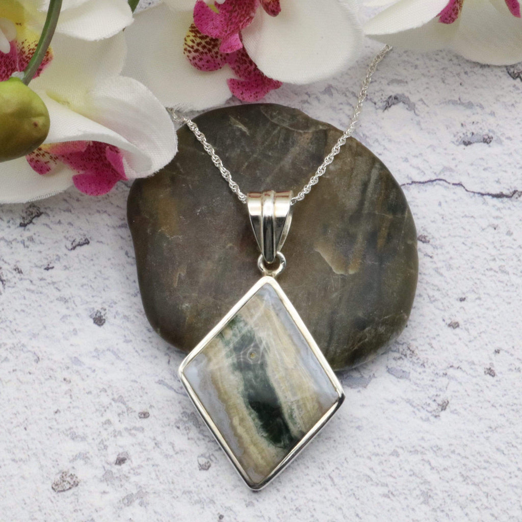 Hepburn and Hughes Ocean Jasper Pendant | Diamond | Sterling Silver