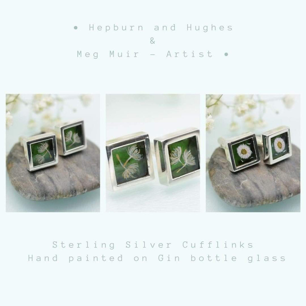 Hepburn and Hughes Painted flowers on upcycled Gin Bottle Cufflinks in Sterling Silver