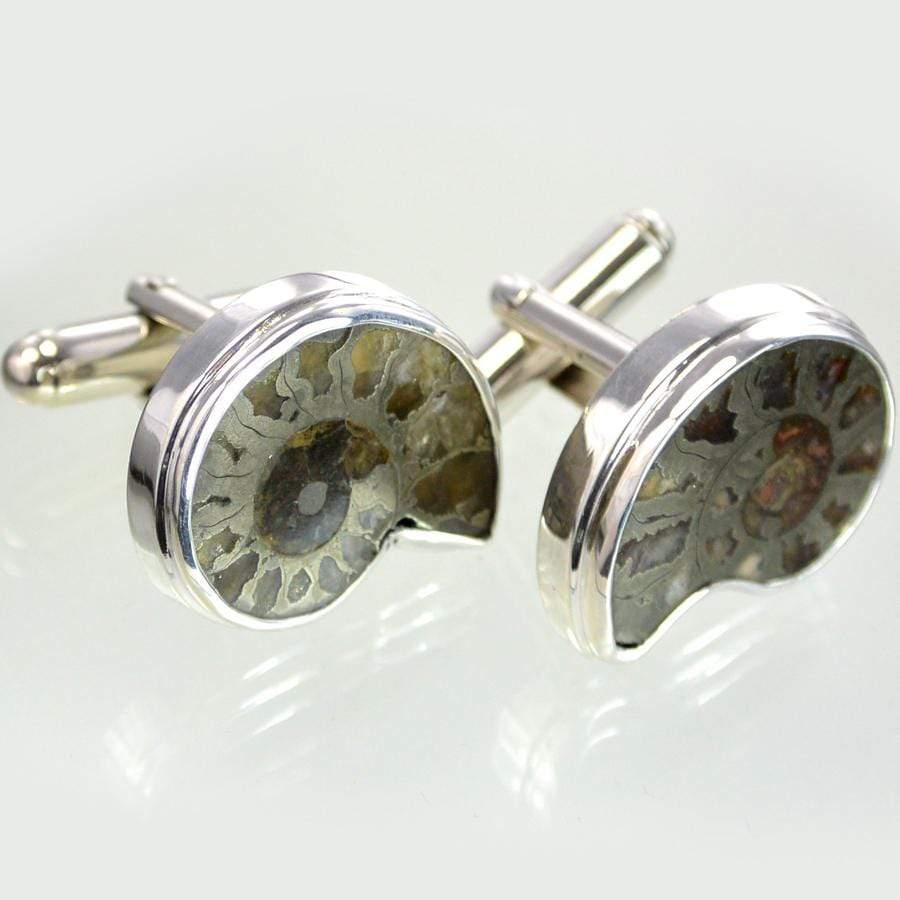 Hepburn & Hughes Pyrite Ammonite Cufflinks | French Ammonites | Sterling Silver