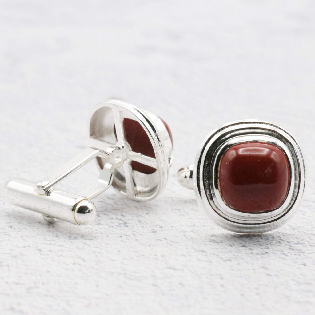 Hepburn and Hughes Red Jasper Cufflinks in Sterling Silver