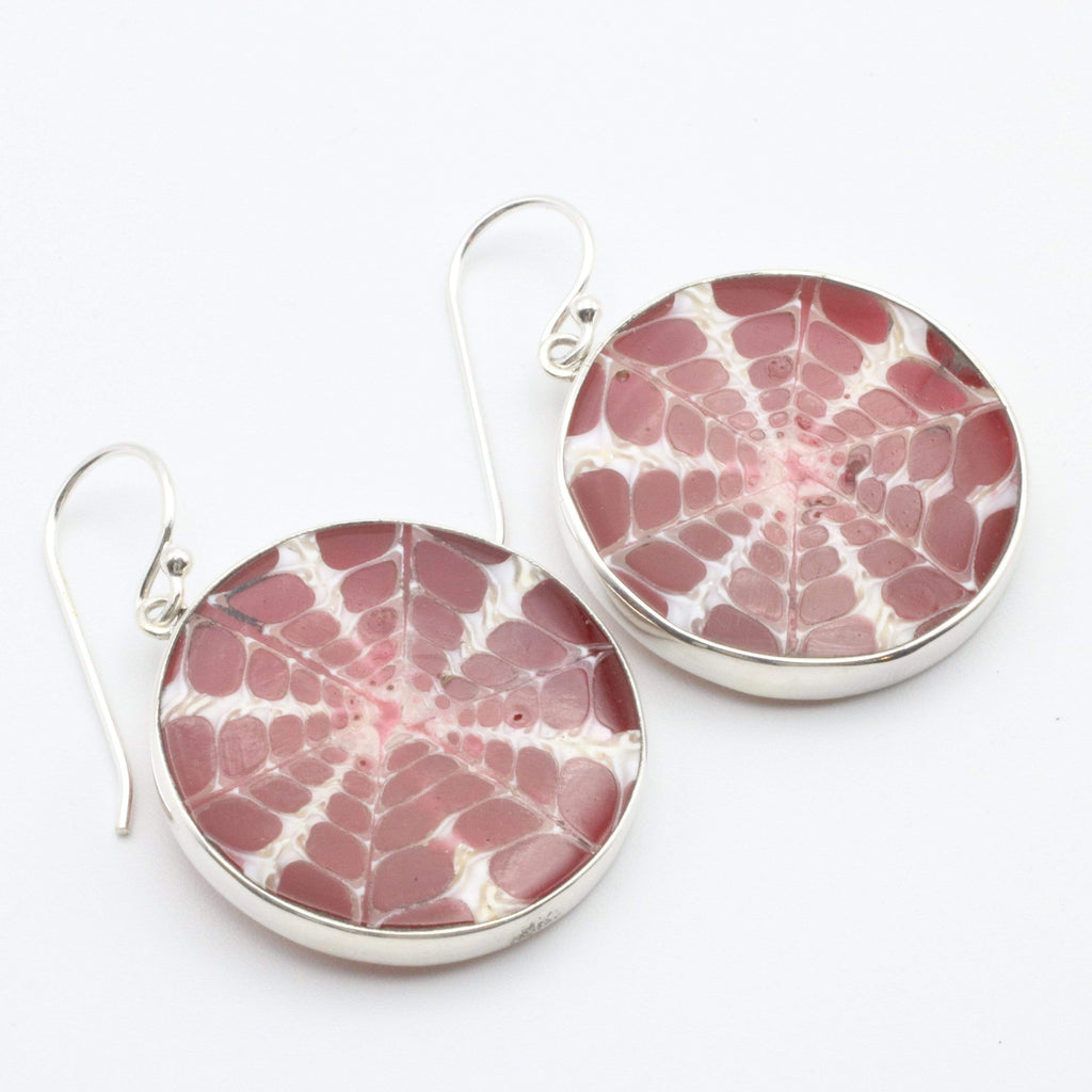 Hepburn and Hughes Seashell Earrings, Burgundy Circle Troca in Sterling Silver