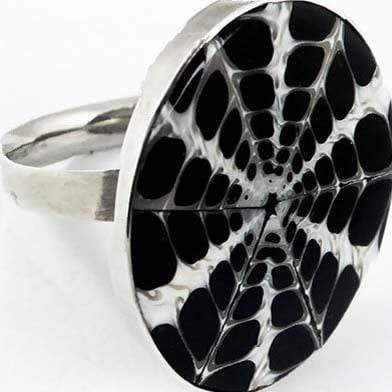Hepburn and Hughes Seashell Ring, Black Circle Troca in Sterling Silver