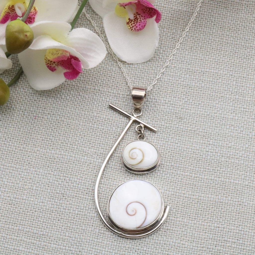 Hepburn and Hughes Shiva Eye Pendant | Double Circle with bar | Sterling Silver