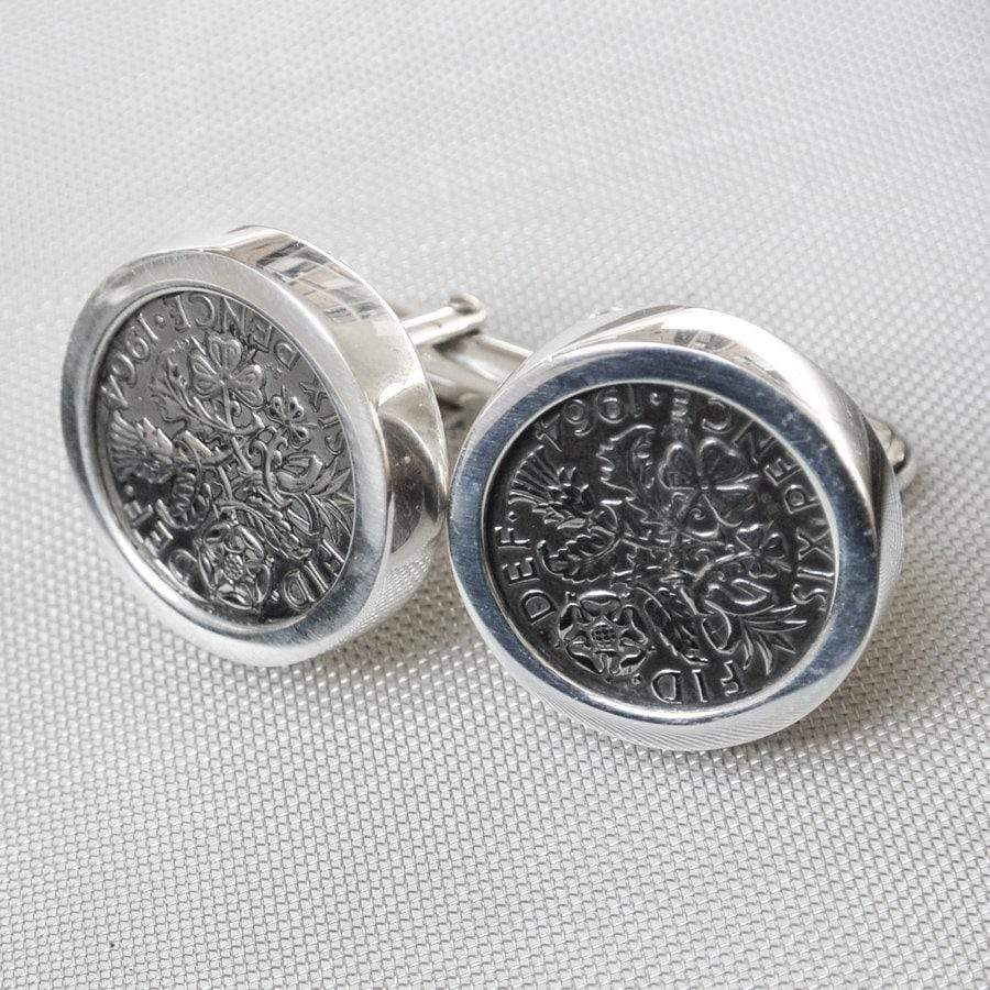 Hepburn and Hughes Sixpence Coin Cufflinks in Sterling Silver