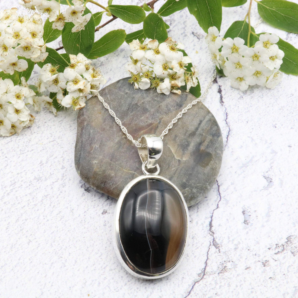 Hepburn and Hughes Tigers Eye Pendant, Oval in Sterling Silver