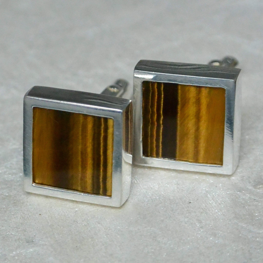 Hepburn and Hughes Tigers Eye Quartz Cufflinks in Sterling Silver